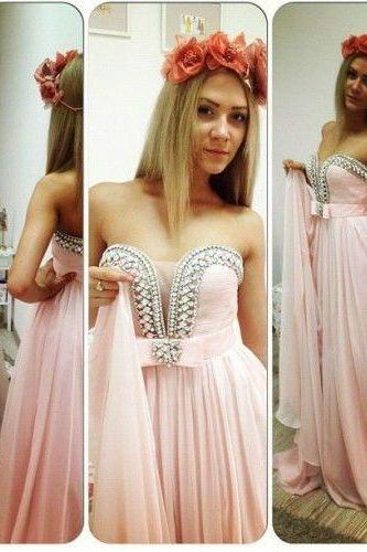 2015 New Pink Prom Dresses Formal Prom Dress chiffon Sexy Prom Gowns, Sequin bridesmaid 2015 Prom Dresses Sexy Prom Dresses, Dresses For Prom