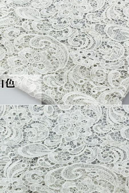 White Cord Lace Fabric For Women Dresses Water Soluble Guipure Lace 120 cm Width