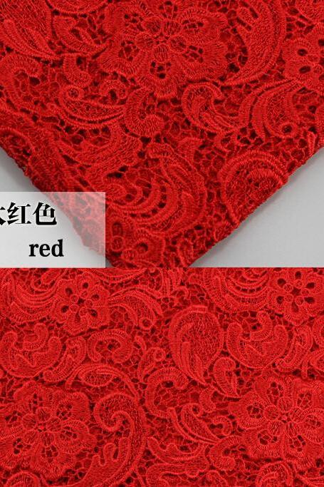 Red Color Cord Lace Fabric For Women Dresses Water Soluble Guipure Lace 120 cm Width