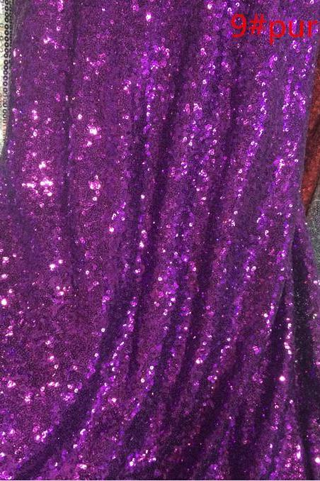 Grape Purple Metallic Embroidery Mesh Sequin Lace Fabric For Women Wear 48 Inch Width Sold At Yard