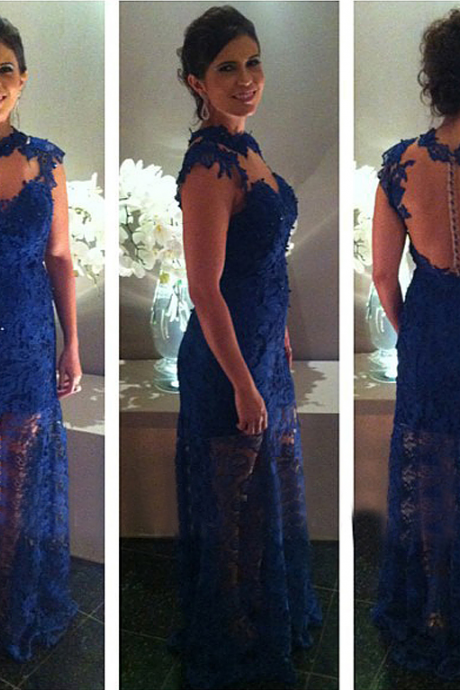 long prom dress, royal blue prom dress, lace prom dress, cheap prom dress, party prom dress, backless prom dress, long evening dress, prom dress 2015, 14167