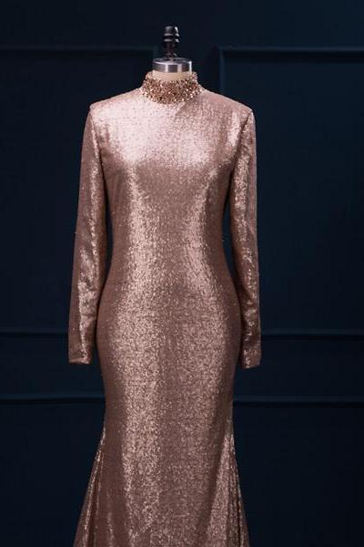 Metallic Champagne Sequin Long Sleeves Evening Dress High Neck Mermaid Long Women Formal Gown Engagement Dress Prom Dress Custom Made