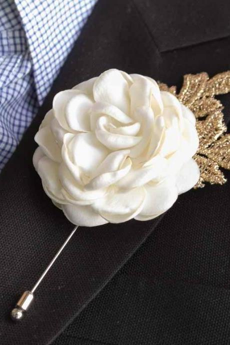 Gold leaf Satin Rose Burned flower Mens Boutonniere/Buttonhole For Wedding,Lapel Pin,Hat Pin,Tie Pin