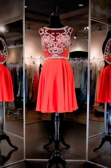 A Line Chiffon Red Navy Homecoming Dress Crew Neck Beaded Crystals Sexy Short Party Prom Gowns 2017 Fall Winter Mini Wedding Dress Backless