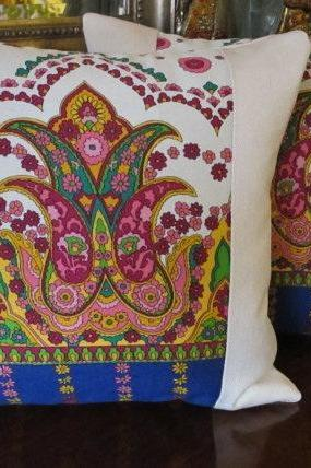 Retro Paisley Cushion Cover, Organic Denim, Retro Pillow. Indian Pillow