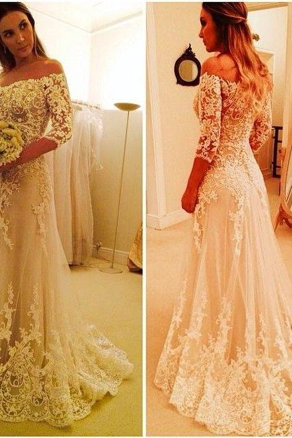 Bridal Wedding Dresses Vestido De Noiva Com Manga 2015 A Line Off The Shoulder Long Full Sleeves Lace Wedding Dresses