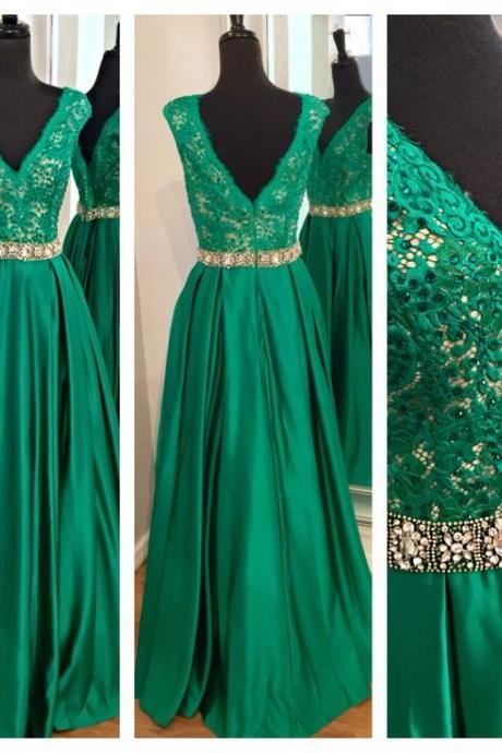 Green Lace Applique Prom Dress, V-Neck Mopping The Floor Evening Dress, Prom Dress, Sequined Chiffon Evening Dresses, Prom Dresses Charming