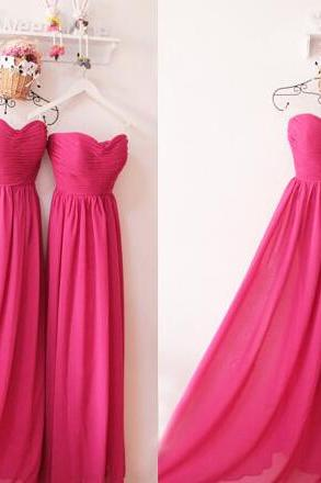 Bridesmaid Dress Long,Chiffon Fuchsia Prom Dress,Long Chiffon Bridesmaid Dress,Red Bridesmaid Dress,Prom Dress Long,Elegant Bridesmaid Dress