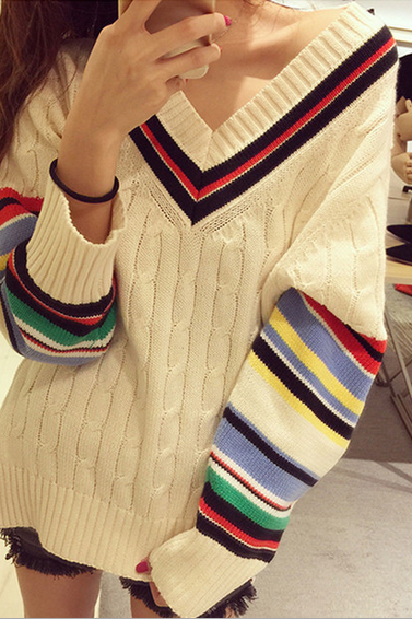 Lovely striped knit V-neck sweater SF91903JL