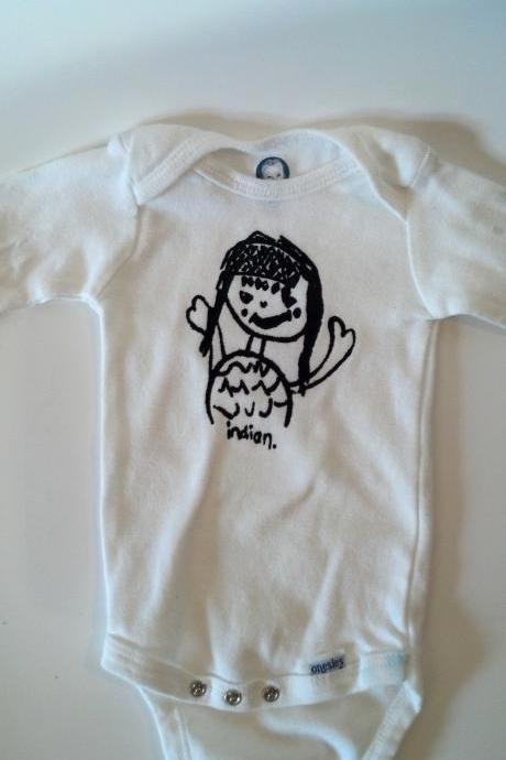 Custom Indian Onesie or Tee Hand Screenprinted