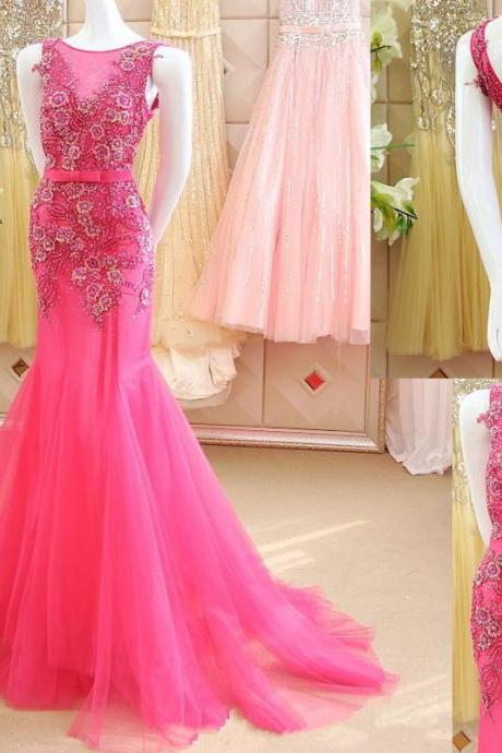 HG329 Appliques Prom Dress,Mermaid Prom Dress,Luxury Prom Dresses,Flowers Prom Dress,Shiny Prom Dress,New Arrival Prom Dress,Beaded Prom Dress,V Back Prom Dress Custom Made Prom Gown