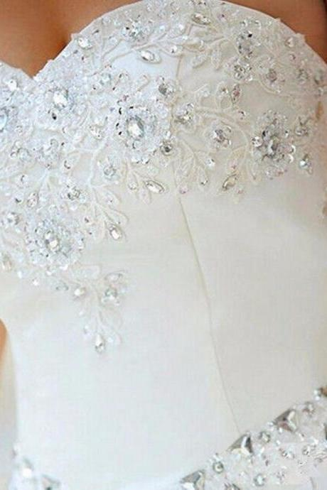 Fancy Sparkle Rhinestones Sequins Sweetheart Ball Gown Wedding Dress ,Bridal Gown,wedding gown,wedding dresses,l wedding dresses,white bridal dress,white wedding dresses,Backless Wedding Gowns,Vintage Wedding Gowns,White Wedding Gowns,open back Brides Dress