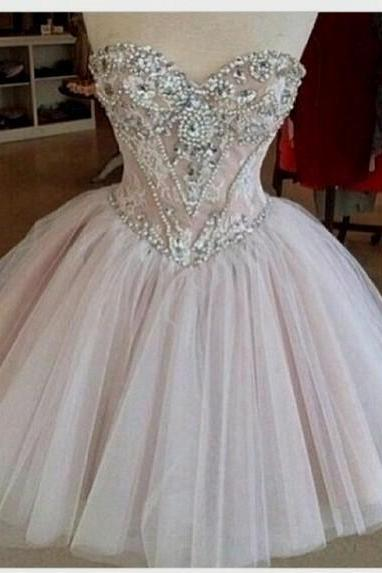 Charming Homecoming Dress Beading Homecoming Dress Sweetheart Homecoming Dress Noble Short Prom Dress