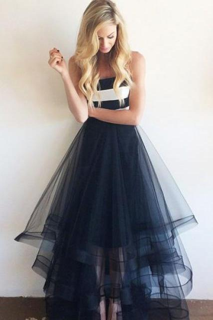 Charming Prom Dress Tulle Prom Dress A-Line Prom Dress Strapless Prom Dress Floor-Length Prom Dress