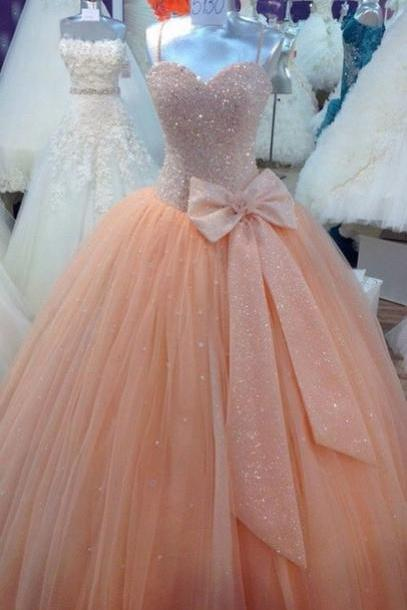 Custom Made A Line Pink Sweetheart Prom Dresses, Sequined Chiffon Evening Dress ,Sling Dress ,Wedding Dresses