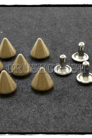 15pcs 8mm Brown Cone SPIKES RIVETS Studs Dog Collar Leather Craft RV895