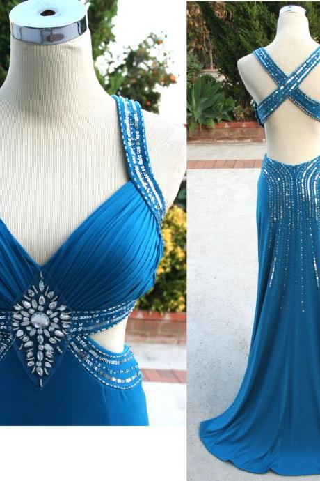 2017 New Arrival Blue Sheath Sweetheart Spaghetti Backless Sequined Crystals Floor Length Chiffon Party Dresses Prom Dress Gowns