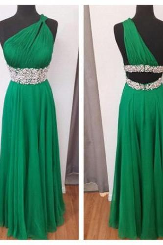 Bridesmid Sexy One Shoulder Dresses Prom Dresses 2015 Homecoming Floor-Length Dresses Chiffon Halter Party Dresses, Formal Evening Dress