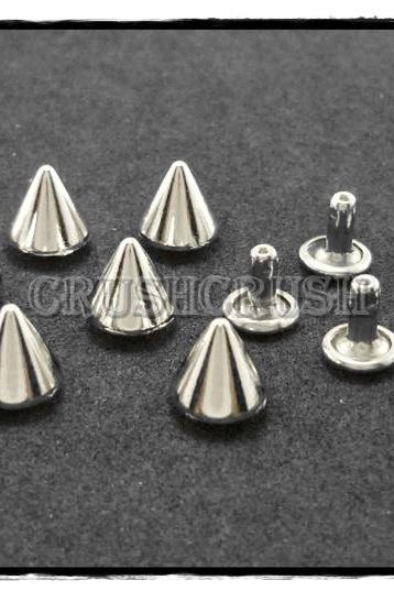 15pcs 10mm Silver Cone SPIKES RIVETS Studs Dog Collar Leather Craft RV898
