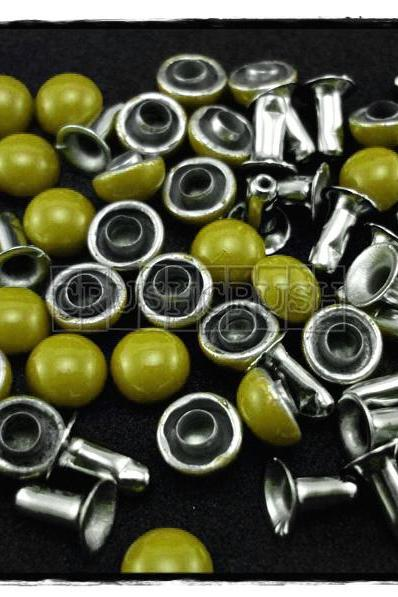 50Set 6mm Green Dome Rivets Leather RV1176
