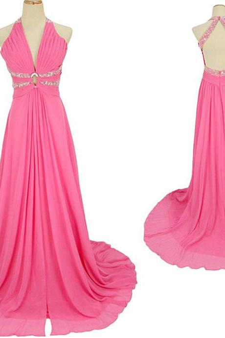 Prom Gowns Sexy Prom Dress ,Charming Prom Dress ,Halter Prom Dress ,Backless Prom Dress, V Neck Prom Dress, Chiffon Prom Dress, Long Prom Dress
