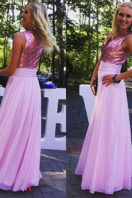 New Cheap Pink Bridesmaid Dresses, Chiffon Zipper Back Sequins Floor Length Formal Party Dresses, For Wedding Prom Gowns