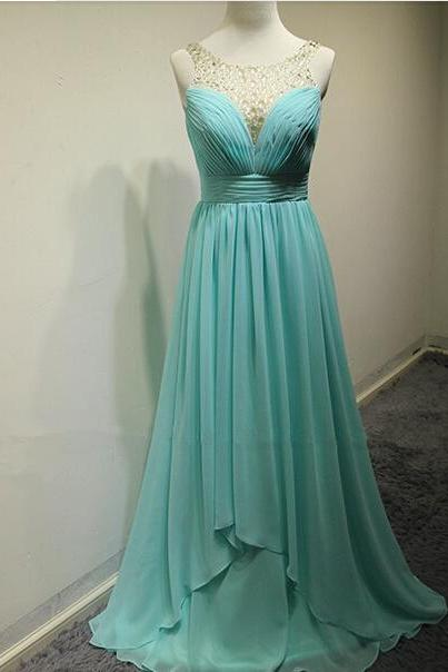 Elegant Blue Chiffon Sweep Train A-Line Prom Dress, With Crystals New Lovely Blue Dragon Prom Dresses, Prom Dresses ,Handmade Evening Dress
