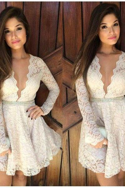 Short White Lace Long Sleeves Prom Dresses, Party Cocktail Gowns Sexy Deep V-Neck Short Mini White Dress, Homecoming Gowns
