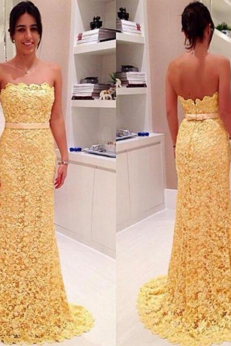 Strapless Yellow Lace Mermaid Long Prom Dress, LACE EVENING DRESSES ,Sweetheart Bridesmaid Dresses
