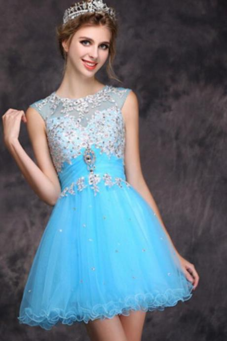Ice Blue Short Homecoming Prom Dress With Beading Keyhole Back Teens Formal Party Dress Custom Made