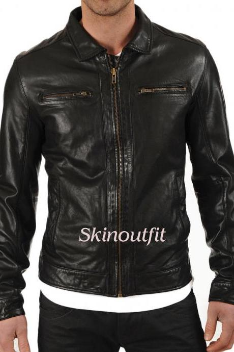 SkinOutfit Men's Stylish Motorcycle Leather Jacket Mj 01