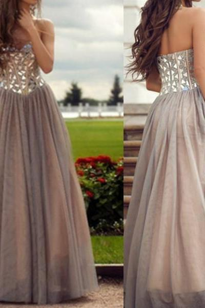 Handmade Grey Rhinestones A-Line Sweetheart Neckline Floor Length Prom Dress Party Dress