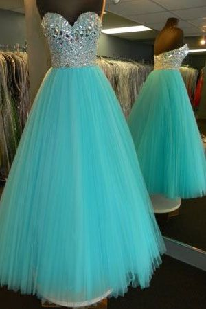 Custom Made Mint Green Sweetheart Neckline Long A-Line Tulle Evening Dress, Prom Dress, Wedding Dress, Bridesmaid Dresses