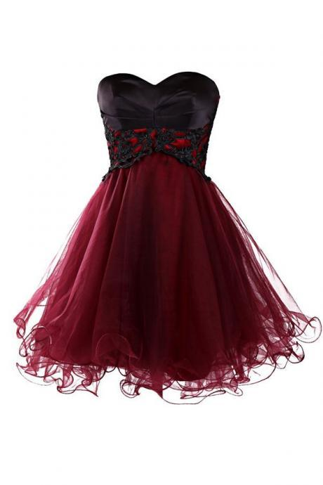 Charming Wine Red Tulle Short Lace Up Prom Gown 2016, MIni Prom Dresses, Burgundy Homecoming Dresses,Formal Wear