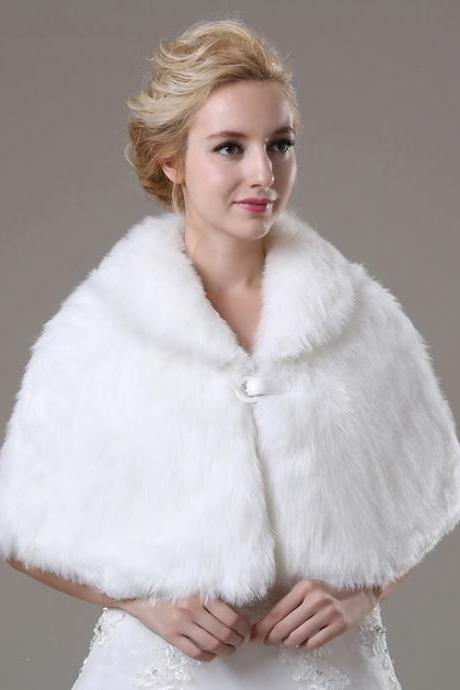 White Artificial Fur Fur Wrap Bridal Faux Fur Cape For Wedding Women Winter Coat