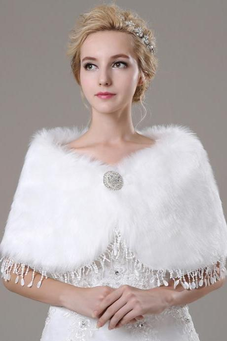 Elegant White Artificial Fur Fur Wrap With Beads Bridal Faux Fur Cape For Wedding Women Winter Coat
