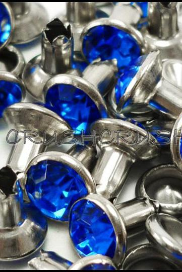 40Set 8mm Blue Sapphire Synthetic Crystal RIVETS Leather Craft RV6118
