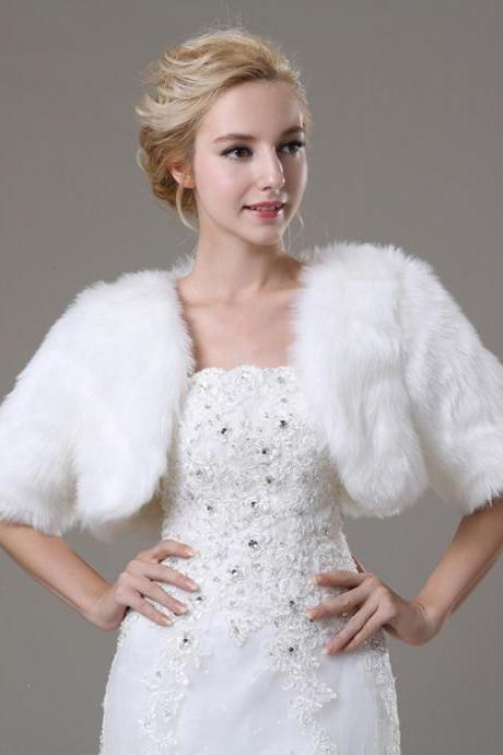 White Artificial Fur Bolero With Short Sleeves Bridal Faux Fur Short Jacket For Wedding Women Winter Coat
