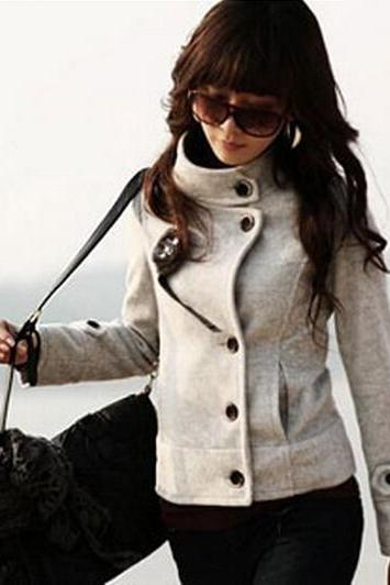 Jacket Gray Female Wool Coat