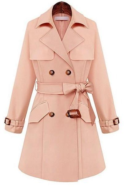 Long Plus Coats Pink Jacket Women Casual Warm Trench Coat Lapel