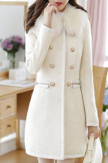 Sweet White Long Sleeve Double Breasted Closure Winter Coat