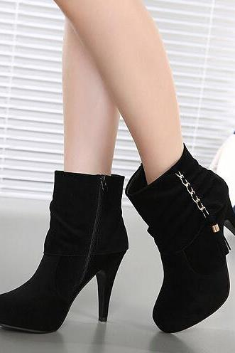 Pure Black Side Zip High Heels Winter Boots