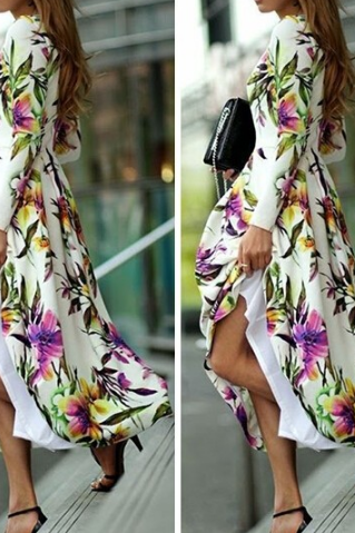 Fashion Printed Round Neck Long-Sleeved Dress