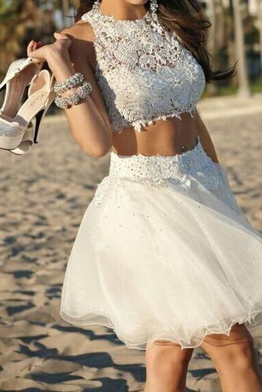 White Homecoming Dresses,Tulle Homecoming Dress,2 Pieces Prom Gown,Two Piece Cocktail Dresses,Lace Sweet 16 Gowns,2015 Evening Gowns