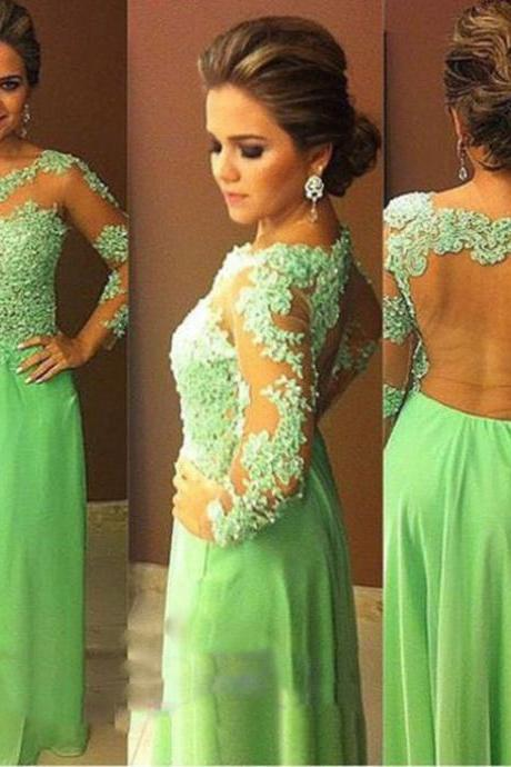 Green Evening Dresses, Long Evening Gowns, Chiffon Prom Dresses, Appliques Party Dresses, Beading Fashion Party Dress, Vestidos Formal Dress