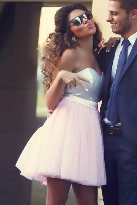 High Quality Sexy Sweetheart Mini Organza Short Prom Dresses 2015 Sequined Light Pink Homecoming Party Dress
