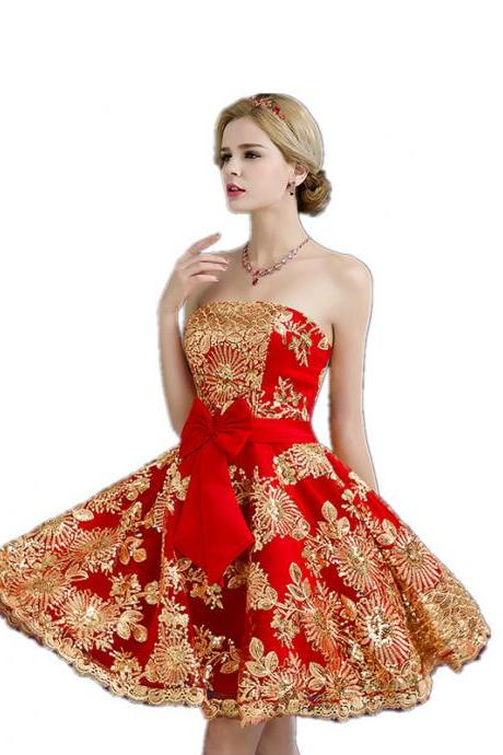 Short Red Satin Dress For Homecoming Prom With Gold Lace Strapless Dipped Hem Women Cocktail Party Dress Custom Made