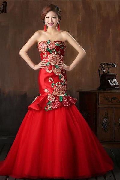 Chinese Style Red Satin Sequin Wedding Dress With Flower Pattern Strapless Fit and Flare Women Formal Evening Gown Custom Made