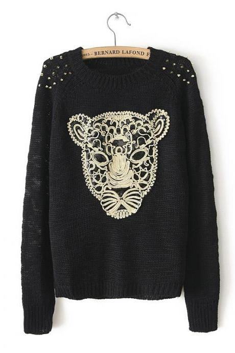 Aztec Knitted Rivets Black Pullover Sweater FROZW25ZEI9D26CPWY3I0 2629J06SEZ6