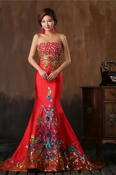 China Chic Red Satin Women Formal Dress With Stones and Flower Pattern Strapless Mermaid Evening Gown Custom Made